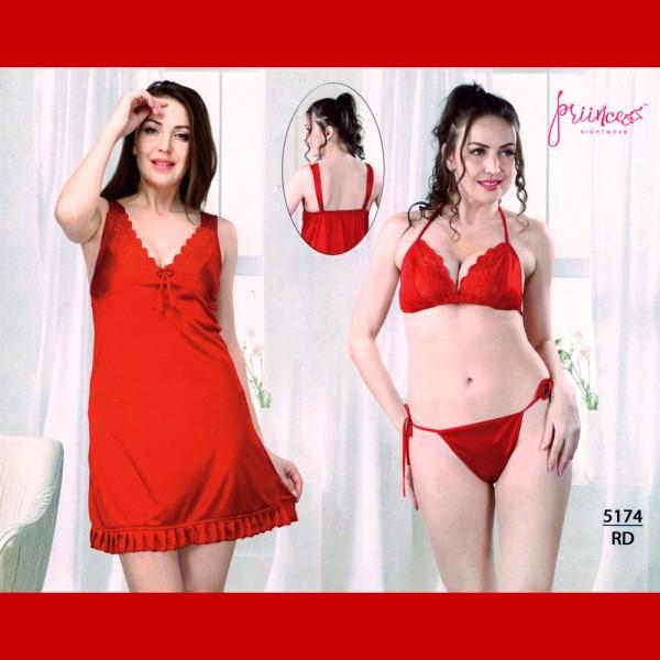 Fashionable Three Part Nighty-5174 RD