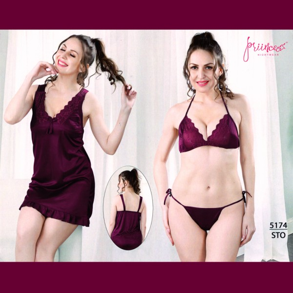 Fashionable Three Part Nighty-5174 STO