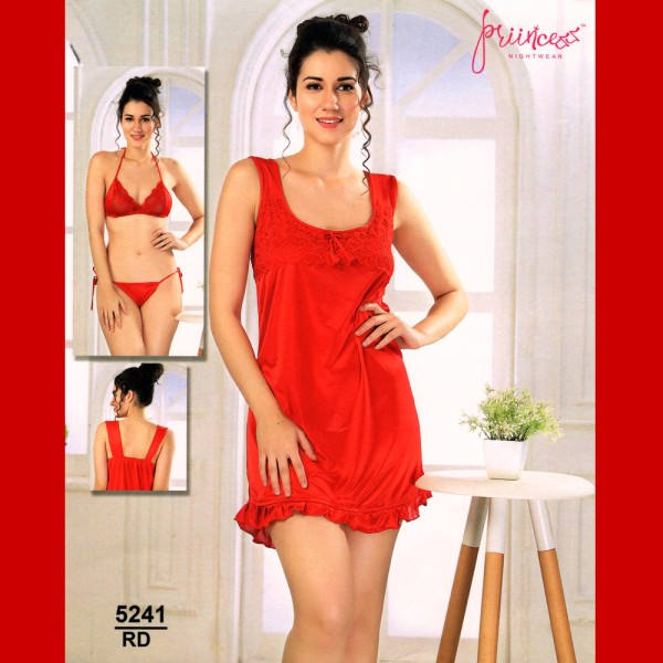 Fashionable Three Part Nighty-5241 RD