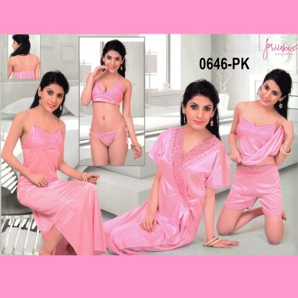 Fashionable Six Part Nighty-0646 PK